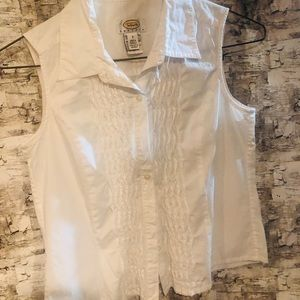 Talbots white sleeveless top